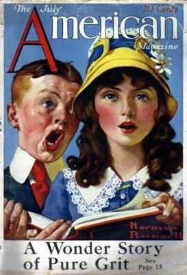 Norman Rockwell's Boy and Girl Singing from the July 1919 American cover