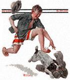 Boy Chasing Dog With Pants from the August 9, 1919 Saturday Evening Post cover