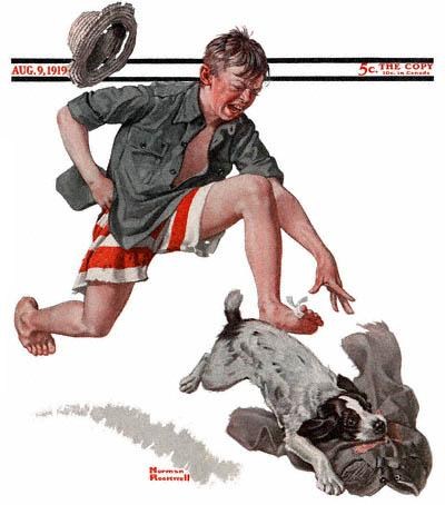 The September 20, 1919 Saturday Evening Post cover by Norman Rockwell entitled Boy Chasing Dog With Pants