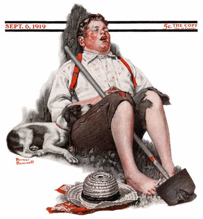 The September 6, 1919 Saturday Evening Post cover by Norman Rockwell entitled Boy Asleep with Hoe