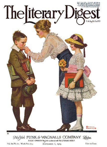 Mother Sending Children Off to School bt Norman Rockwell from the September 6, 1919 issue of The Literary Digest