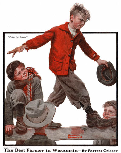 The Country Gentleman from 11/15/1919 featured this Norman Rockwell illustration, Foller the Leader