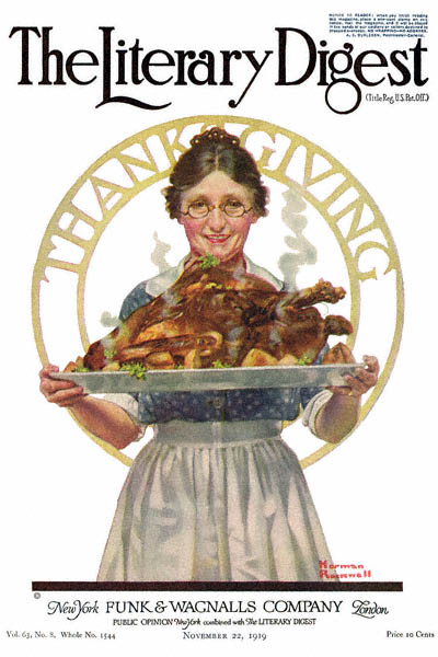 Norman Rockwell Thanksgiving from the Literary Digest cover published November 22, 1919