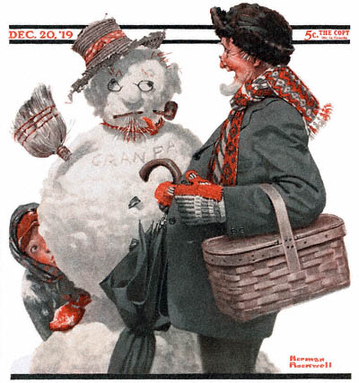 The December 20, 1919 Saturday Evening Post cover by Norman Rockwell entitled Grandfather and Snowman