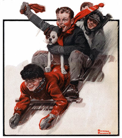The Country Gentleman from 12/27/1919 featured this Norman Rockwell illustration, Four Boys on a Sled