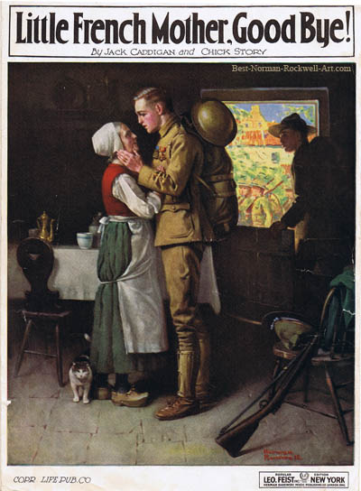 Good-bye, Little French Mother by Norman Rockwell appeared on Judge cover 1919