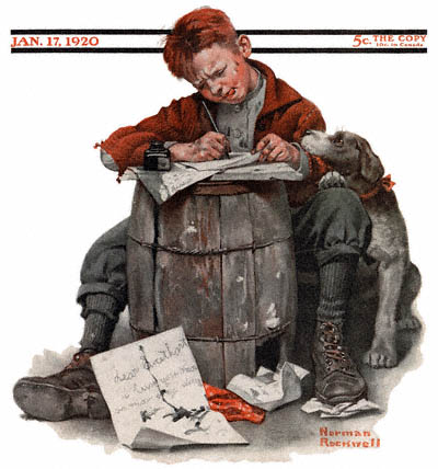 The January 17, 1920 Saturday Evening Post cover by Norman Rockwell entitled Little Boy Writing Letter