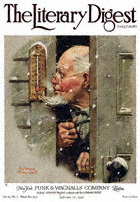 Norman Rockwell's Man Reading Thermometer from the January 17, 1920 Literary Digest cover