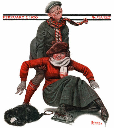 The February 7, 1920 Saturday Evening Post cover by Norman Rockwell entitled The Novice Skater