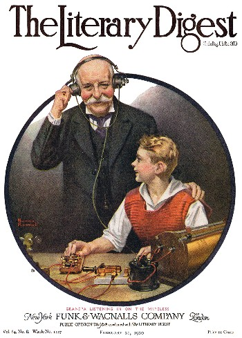 Grandpa Listening in on the Wireless by Norman Rockwell from the February 21,1920 issue of The Literary Digest