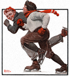 Norman Rockwell's Skating Race from the February 28, 1920 Country Gentleman cover