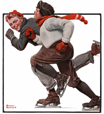 Norman Rockwell's 'Skating Race' appeared on the cover of The Country Gentleman on 2/28/1920