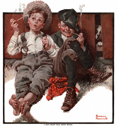 Norman Rockwell's 'Boys Smoking' appeared on the cover of The Country Gentleman on 5/08/1920