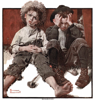 Norman Rockwell's 'Retribution' appeared on the cover of The Country Gentleman on 5/15/1920