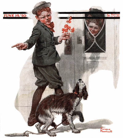 The June 19, 1920 Saturday Evening Post cover by Norman Rockwell entitled Boy Sending Dog Home