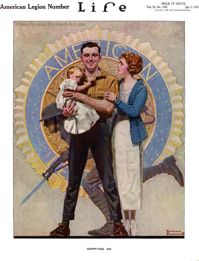 Carrying On by Norman Rockwell appeared on Life Magazine cover July 1, 1920