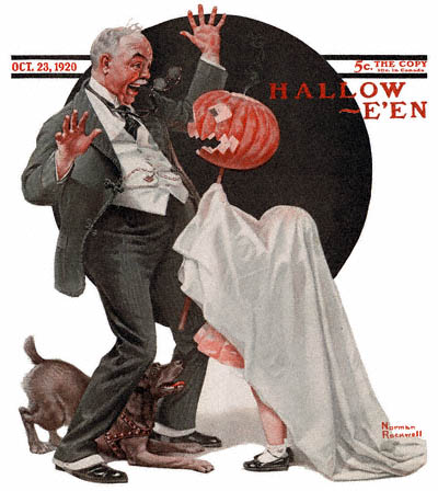The October 23, 1920 Saturday Evening Post cover by Norman Rockwell entitled Grandfather Frightened by Jack-O-Lantern