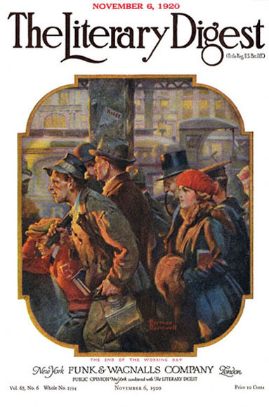 At the End of the Working Day by Norman Rockwell from the November 6, 1920 issue of The Literary Digest