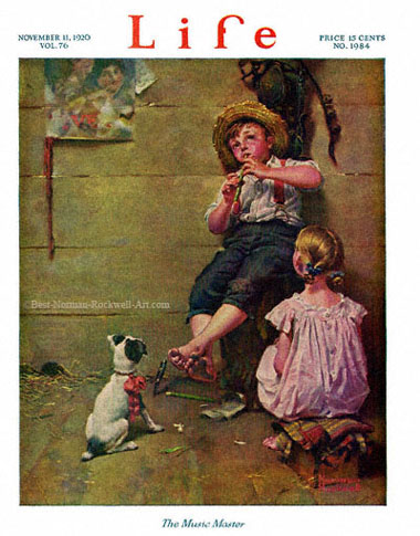 The Music Master by Norman Rockwell appeared on Life Magazine cover November 11, 1920