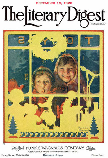 Children Looking in Toy Store Window by Norman Rockwell from the December 18,1920 issue of The Literary Digest