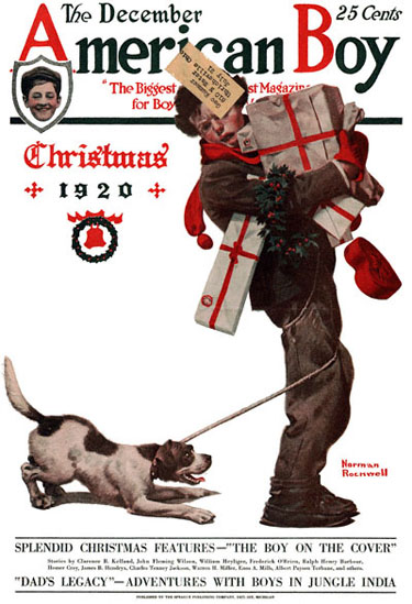 Norman Rockwell's Christmas Packages from the December 1920 American Boy cover