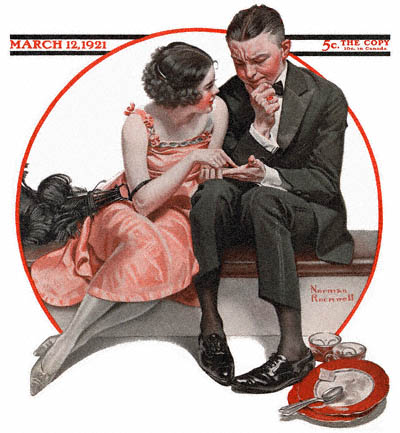 The March 12, 1921 Saturday Evening Post cover by Norman Rockwell entitled Girl Reading Palm