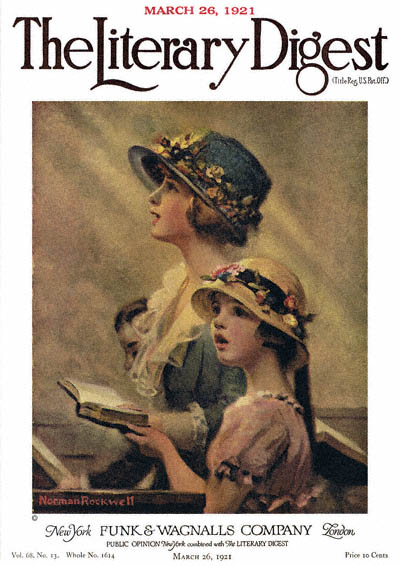 The Norman Rockwell painting, entitled Mother and Daughter Singing in Church, from the cover of The Literary Digest published March 26, 1921