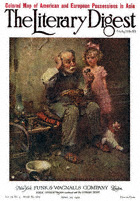 Norman Rockwell's Cobbler Studying Doll's Shoe from the April 30, 1921 Literary Digest cover