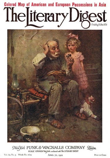 The Cobbler by Norman Rockwell from the April 30, 1921 issue of The Literary Digest
