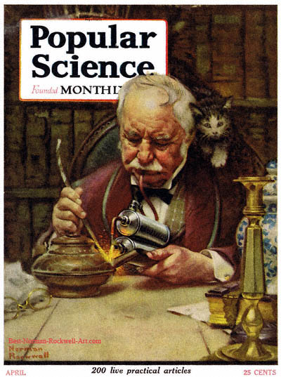 The Welder by Norman Rockwell appeared on Popular Science cover April 1921
