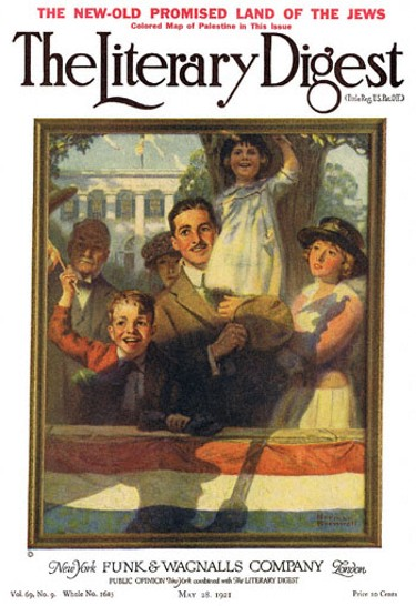 Spectators at a Parade by Norman Rockwell from the May 28, 1921 issue of The Literary Digest