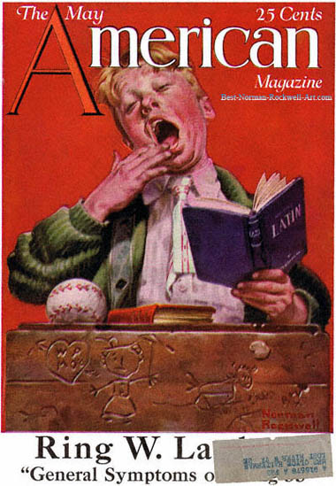 The Sleepy Scholar by Norman Rockwell appeared on American Magazine cover May 1921