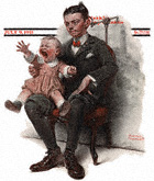 Boy Holding Screaming Baby from the July 9, 1921 Saturday Evening Post cover