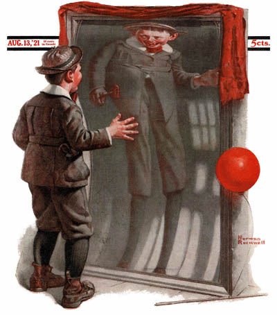 The August 13, 1921 Saturday Evening Post cover by Norman Rockwell entitled The Funny Mirror