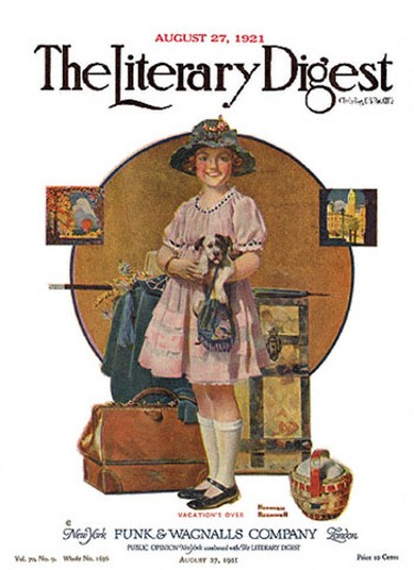 Vacation's Over by Norman Rockwell from the August 27, 1921 issue of The Literary Digest
