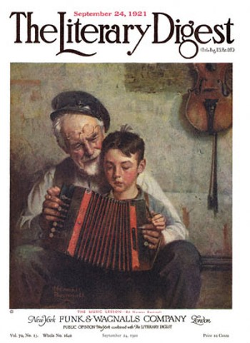 The Music Lesson or Old Man and Boy Playing Concertina by Norman Rockwell from the September 24,1921 issue of The Literary Digest