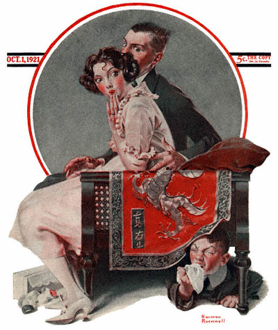 The October 1, 1921 Saturday Evening Post cover by Norman Rockwell entitled Boy Hiding Under Couch Sneezing