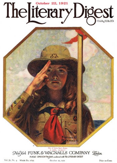 One of Uncle Sam's Assets - A Girl Scout or Girl Scout Saluting by Norman Rockwell from the October 22, 1921 issue of The Literary Digest