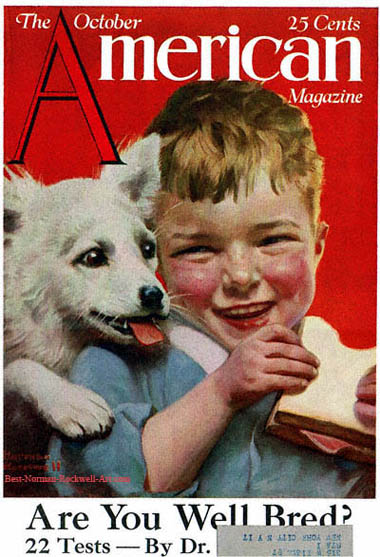 Laughing Boy with Sandwich and Puppy by Norman Rockwell appeared on American Magazine cover October 1921