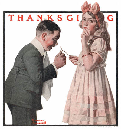 The Country Gentleman from 11/19/1921 featured this Norman Rockwell illustration, The Wishbone