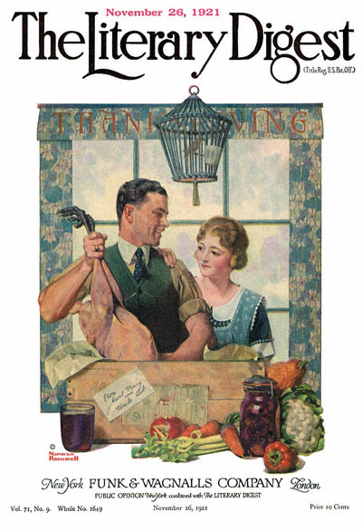 Couple Uncrating Turkey by Norman Rockwell from the November 26, 1921 issue of The Literary Digest
