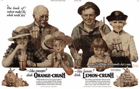 1921 Lemon and Orange Crush advertisement by Norman Rockwell entitled One Touch of Nature