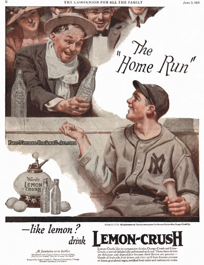 Lemon Crush advertisement by Norman Rockwell entitled The Home Run
