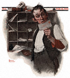 Postman Reading Mail from the February 18, 1922 Saturday Evening Post cover