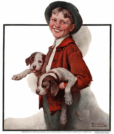 The Country Gentleman from 3/18/1922 featured this Norman Rockwell illustration, Boy with Puppies