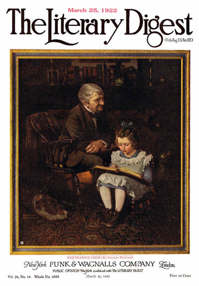 The Reading Hour or Little Girl Reading to Grandfather by Norman Rockwell from the March 25,1922 issue of The Literary Digest