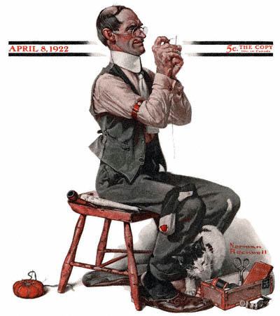 The April 8, 1922 Saturday Evening Post cover by Norman Rockwell entitled Man Threading a Needle