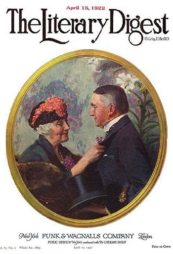 Woman Pinning Boutonniere on Man by Norman Rockwell from the April 15, 1922 issue of The Literary Digest