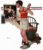 Boy Lifting Weights from the April 29, 1922 Saturday Evening Post cover