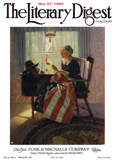 Mending the Flag by Norman Rockwell from the May 27, 1922 issue of The Literary Digest